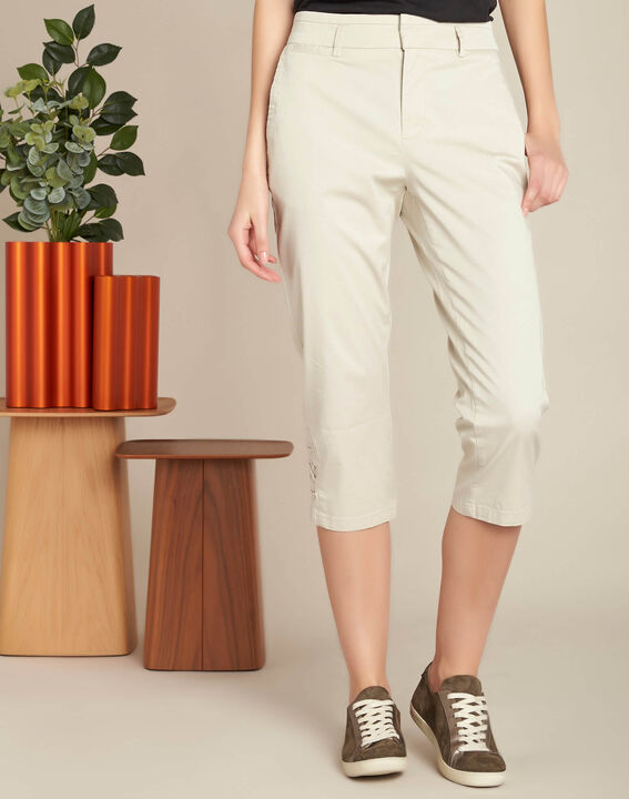 Jamy ecru cotton cropped trousers with lacing (3) - 1-2-3
