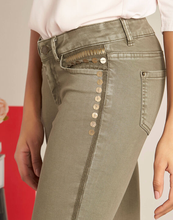Turenne khaki slim-cut, low-waisted 7/8 length jeans with sequins PhotoZ | 1-2-3