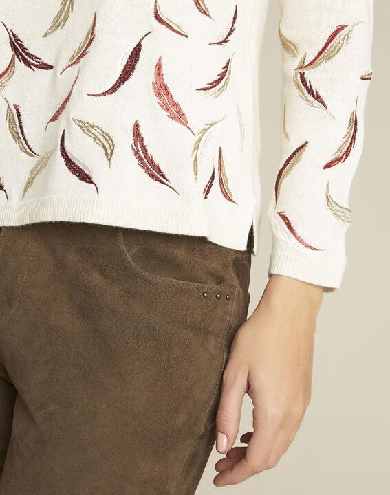 Pull écru brodé laine mélangée Birdie (3) - Maison 123