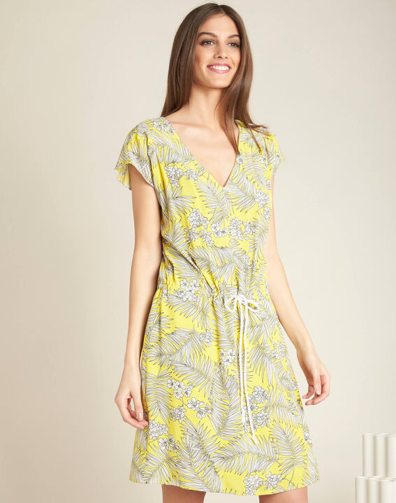 Palma yellow printed dress with tie (3) - 1-2-3