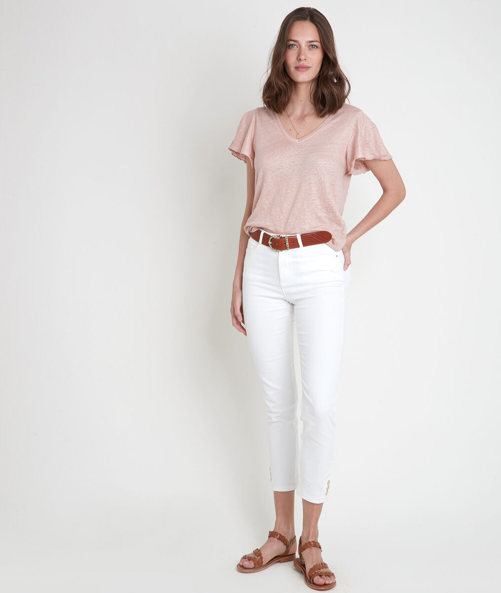 Tee-shirt en lin biologique rose Icao PhotoZ   1-2-3