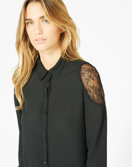 Delta black blouse with shirt collar (1) - 1-2-3