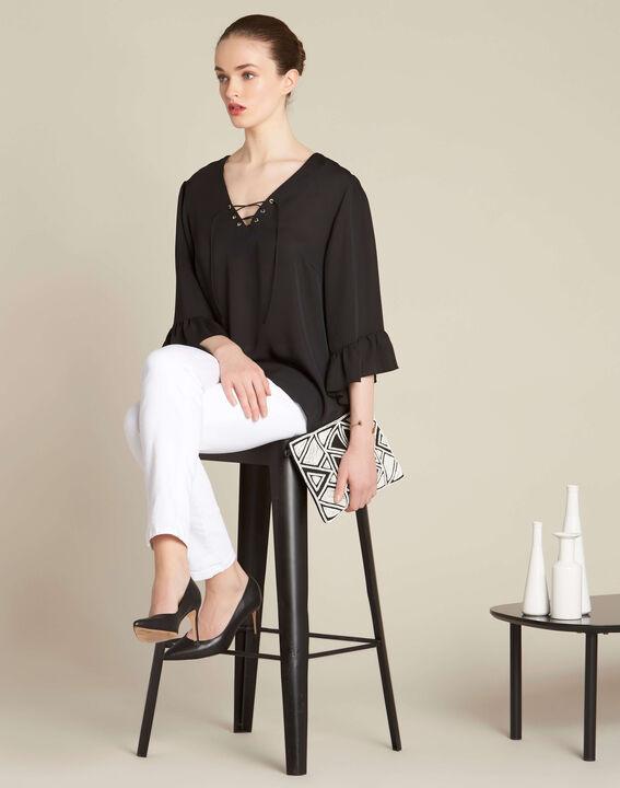 Zwarte blouse met veterhals met ringetjes Dora (2) - 37653