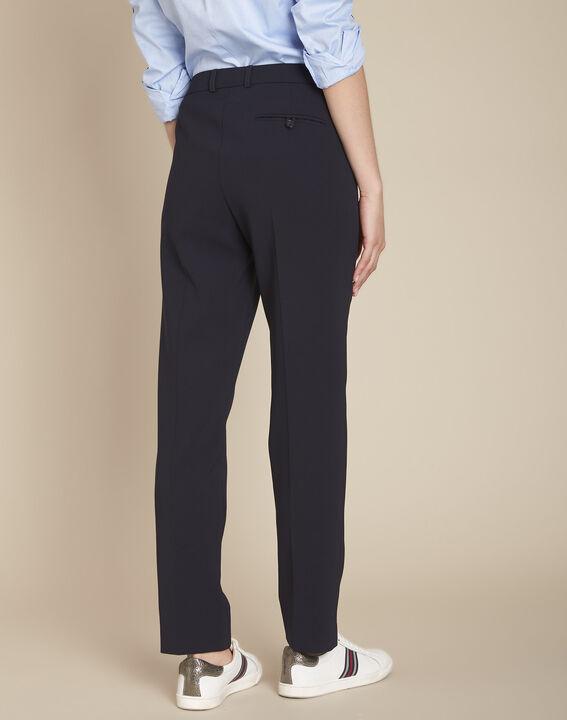 Valero navy microfibre cigarette trousers (4) - Maison 123