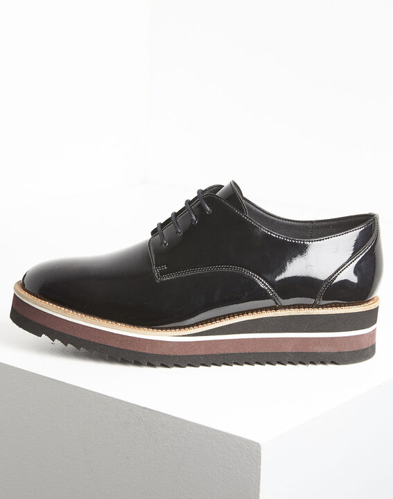 Lackierte schwarze Derby-Schuhe mit Plateau Ludivine PhotoZ | 1-2-3