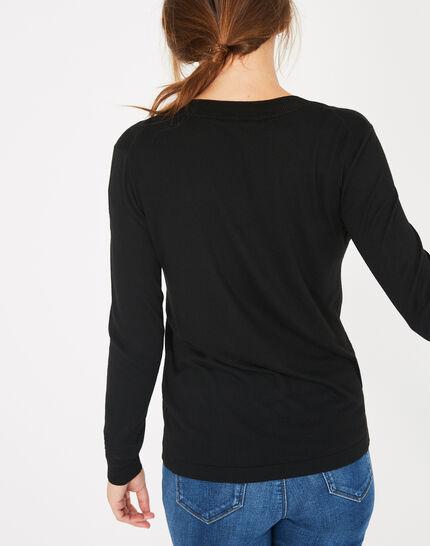 Schwarzer Pullover mit V-Ausschnitt Pépite (5) - 1-2-3