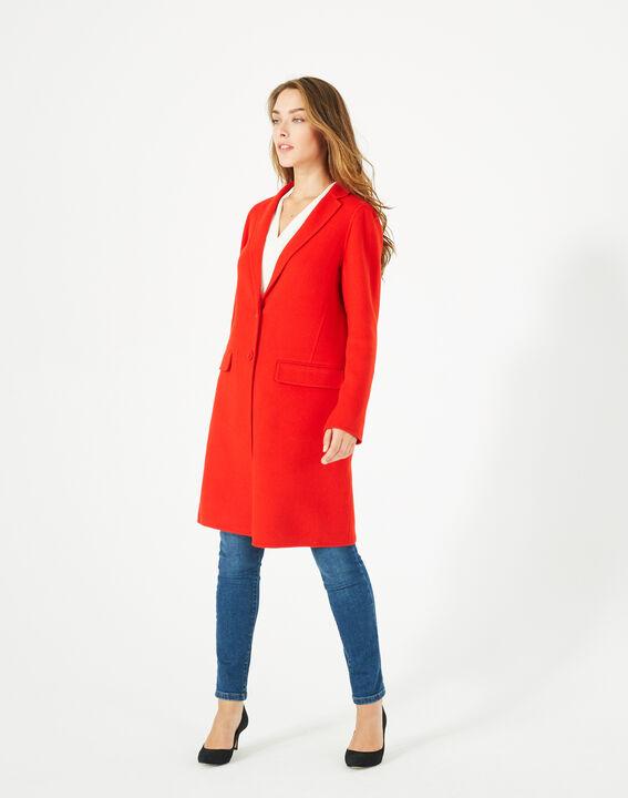Manteau mi-long rouge en laine mélangée Jack PhotoZ | 1-2-3