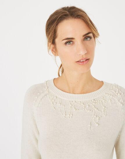 Naturweißer Pullover aus Woll-Mix mit Perlen Perle (2) - 1-2-3