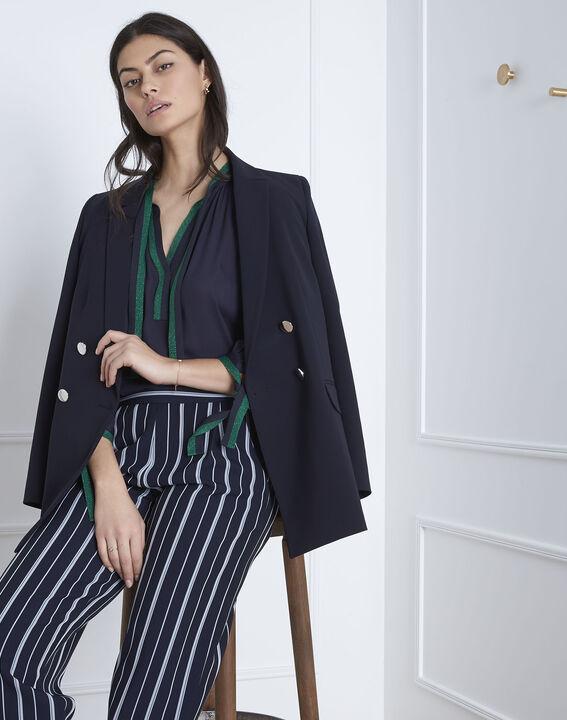 Marineblauwe blouse met contrasterende details Vicky (2) - Maison 123