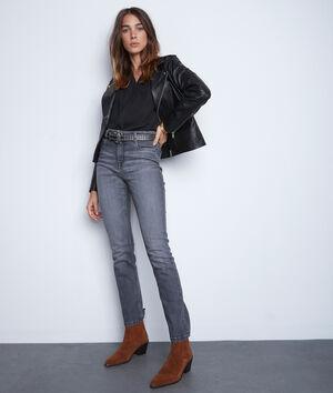 Donkergrijze straight-fit jeans van biokatoen Sonia