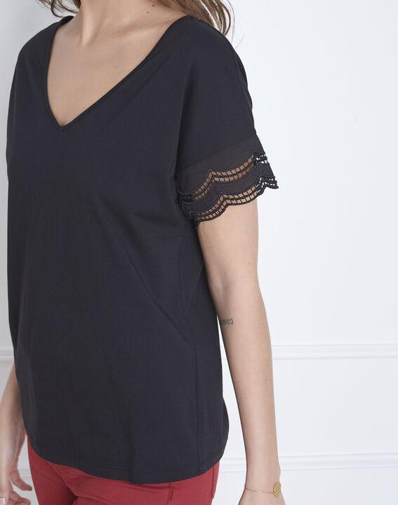 Portofino black V-neck lace top (3) - Maison 123
