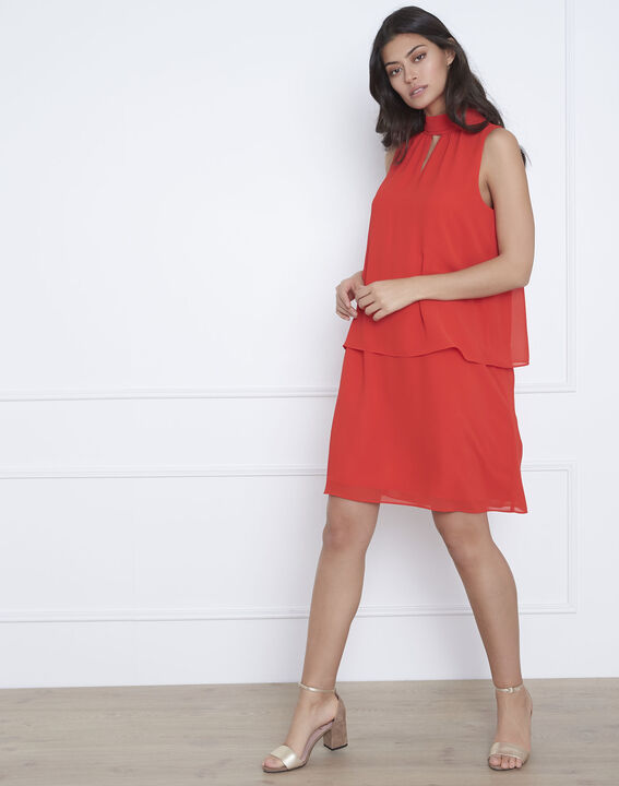 Robe rouge col montant Heloise PhotoZ | 1-2-3