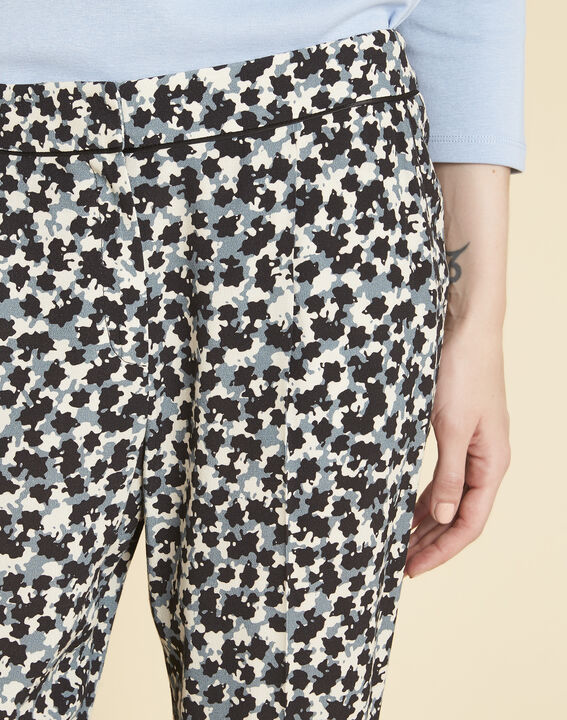 Douglas navy blue tapered trousers with print (3) - 1-2-3