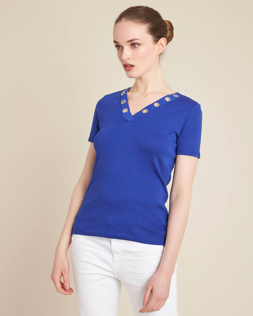 Basic royal blue T-shirt with eyelets on the V-neckline (2) - 1-2-3