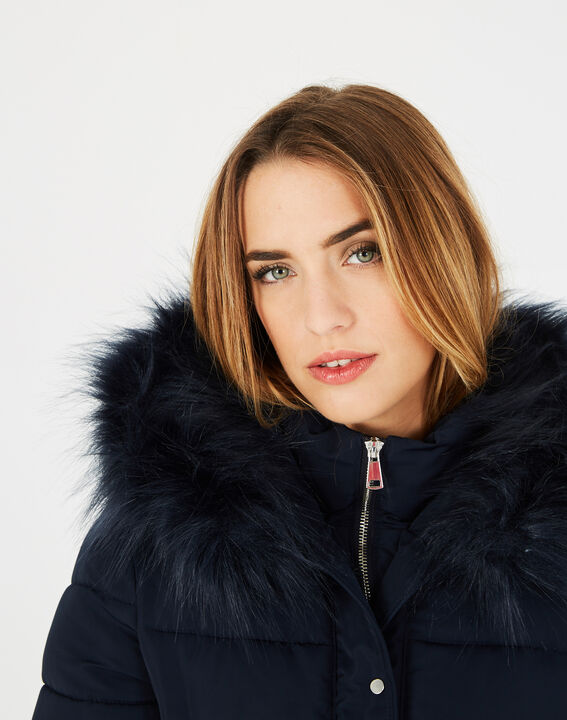 Lisa mid-length navy blue puffer jacket with faux fur (3) - 1-2-3