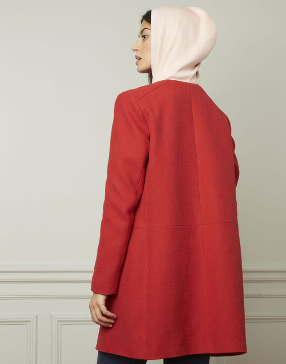 Daya red cotton blend coat (3) - Maison 123