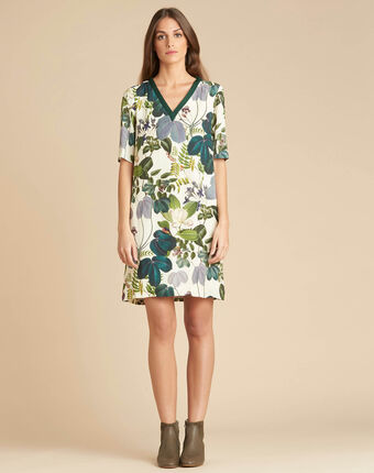 Perline forest green dress with print dark teal.