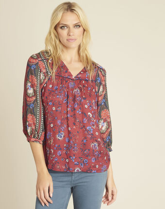 Rode blouse met bloemenprint cécile bordeaux.