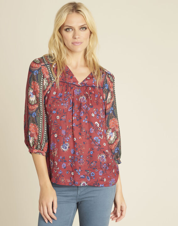Rode blouse met bloemenprint Cécile PhotoZ | 1-2-3