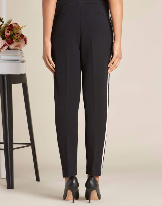 Vadim two-tone black fitted trousers (4) - 1-2-3