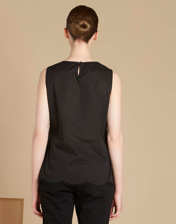 Genat embroidered black sleeveless top (4) - 1-2-3
