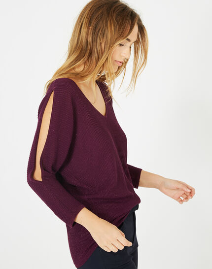 Pandore shiny blackcurrant sweater with bare arms (3) - 1-2-3