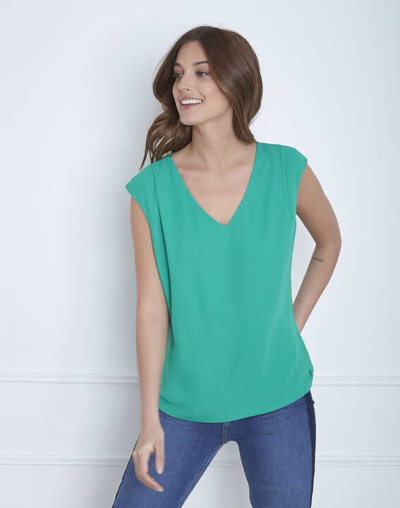 Grüne Bluse aus Bi-Material Neptune (2) - Maison 123