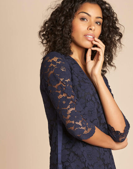 Poesie navy lace dress with side strip (1) - 1-2-3