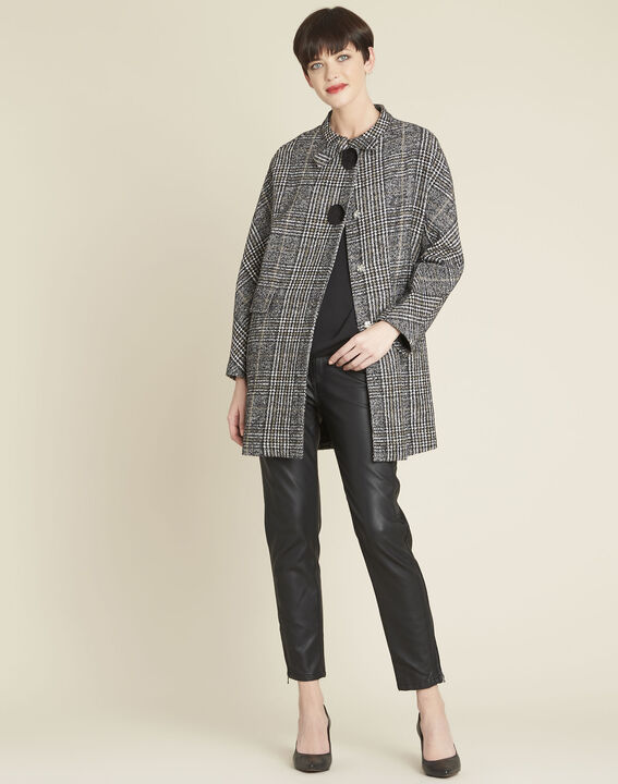 Elora checked coat with contrasting buttons (2) - 1-2-3