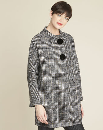 Elora checked coat with contrasting buttons black/white.