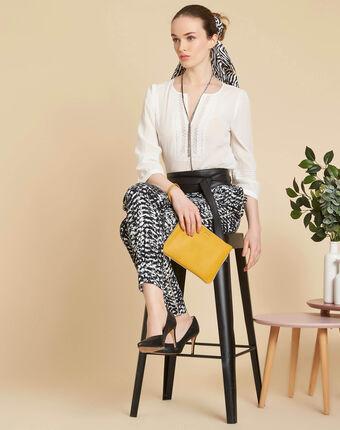 Gabi ecru blouse with lace at the neckline ecru.
