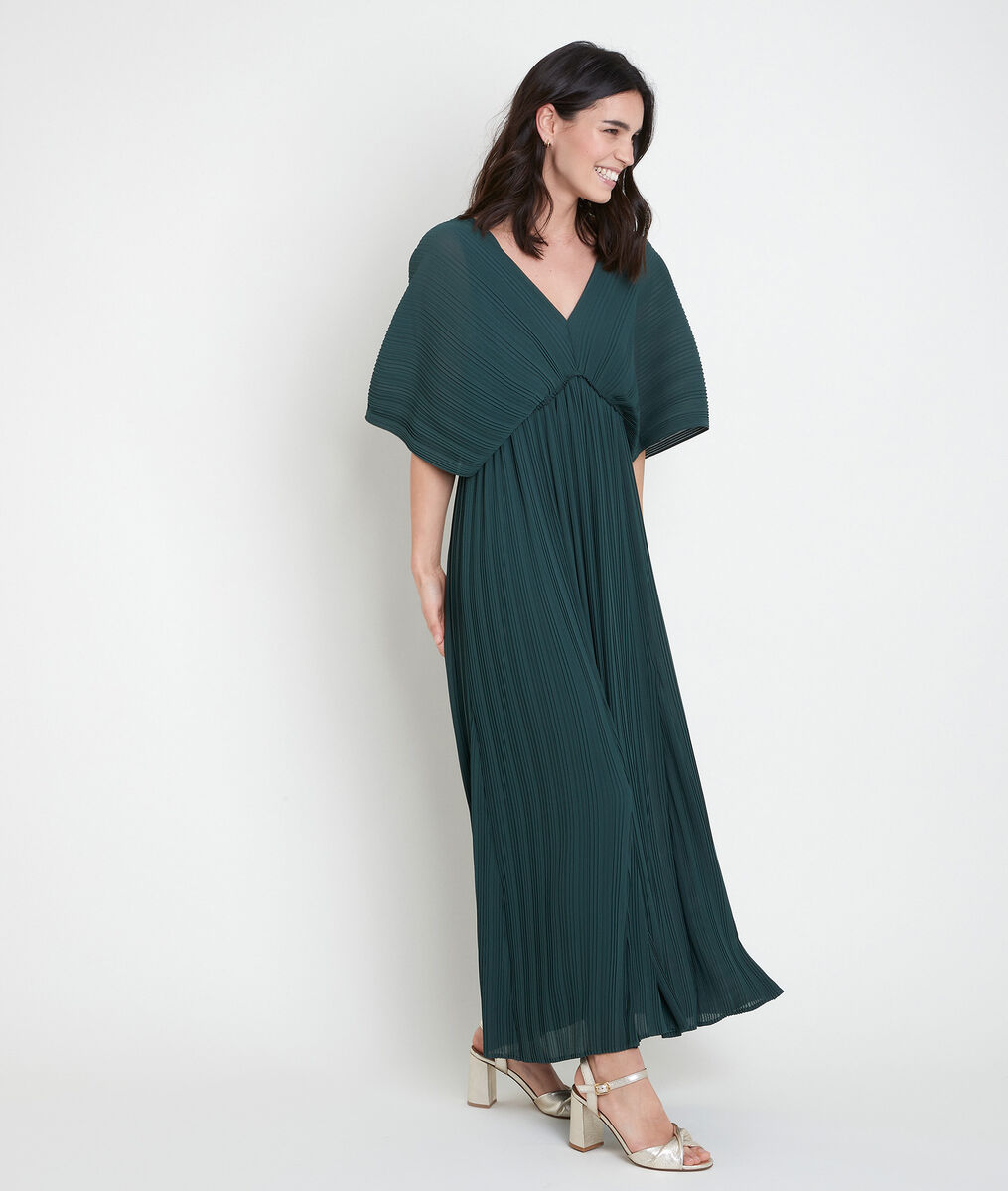 Langes, plissiertes Kleid zypressengrün Marion PhotoZ | 1-2-3