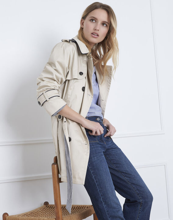 ... Dorine short beige trench coat with contrasting bias (2) - Maison 123  ... 5e99656aeb