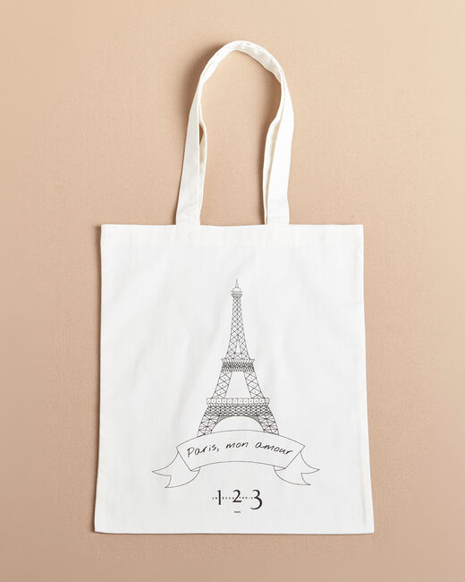 Eiffel Tower ecru printed tote bag (1) - 1-2-3