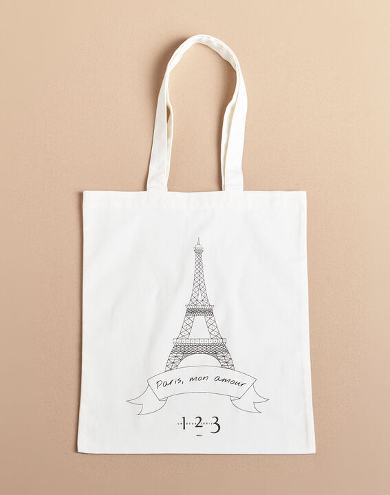 Eiffel Tower ecru printed tote bag (2) - 1-2-3