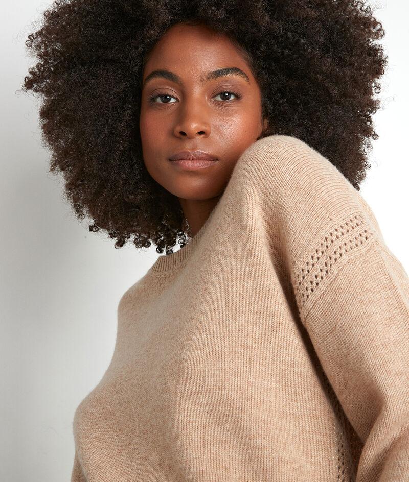 Pull en laine recyclé beige Tobby PhotoZ | 1-2-3
