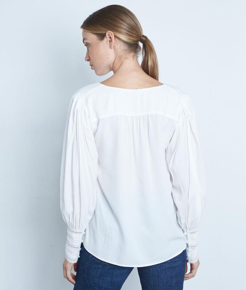 Blouse blanche boutonnée détails dentelle Adrianne PhotoZ | 1-2-3