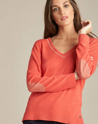 Newyork coral sweater in wool and silk with shiny neckline coral.