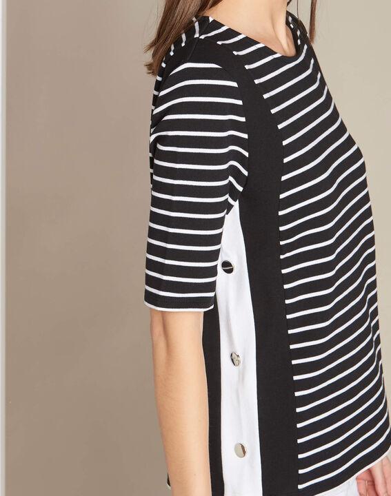 Enjeu fine black striped sweater with decorative band along the neckline PhotoZ | 1-2-3