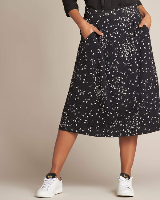 Lassie gingko print black midi skirt (1) - 1-2-3