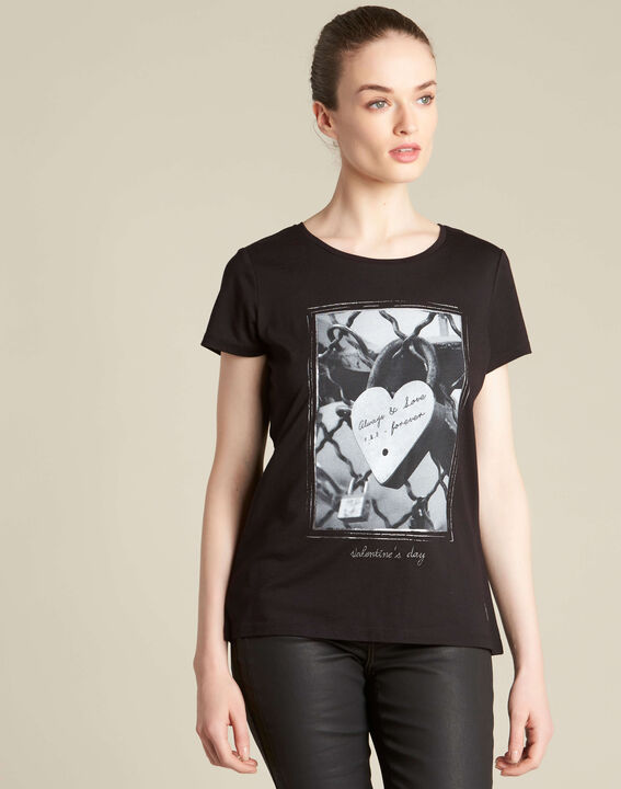 Schwarzes T-Shirt mit Schloss-Print Enamorar (3) - 1-2-3
