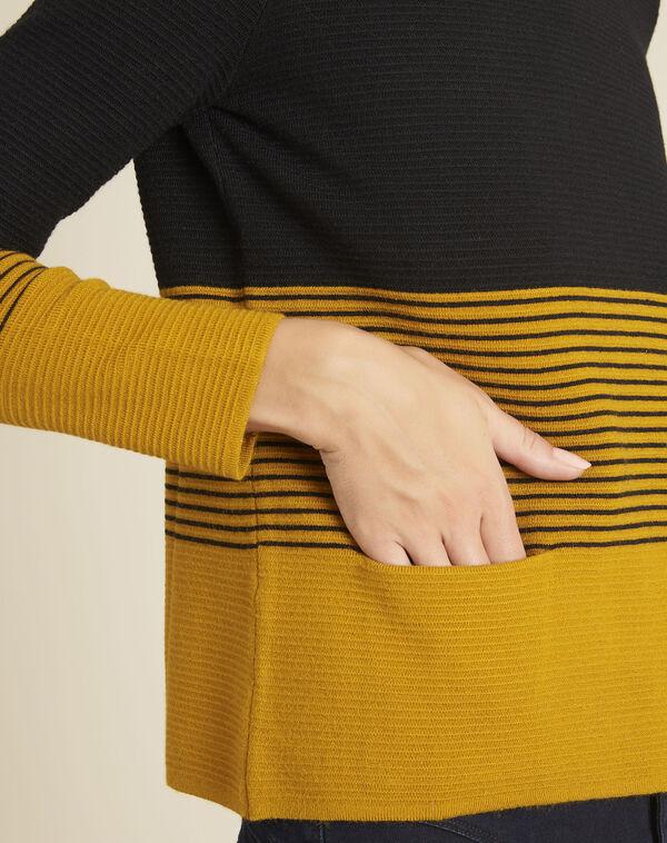 Pull ocre maille fine poches plaquées Bonheur (2) - 1-2-3