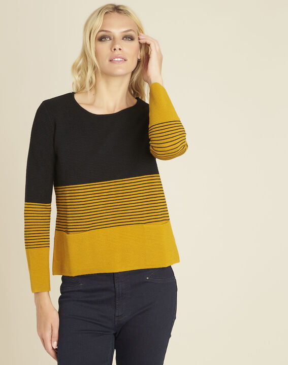 Pull ocre maille fine poches plaquées Bico PhotoZ | 1-2-3