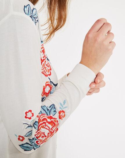 Tee-shirt écru manches longues imprimé Bisou (2) - 1-2-3