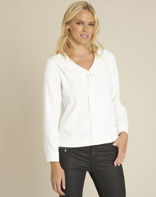 Capucine ecru blouse with jewel detail neckline (1) - 1-2-3