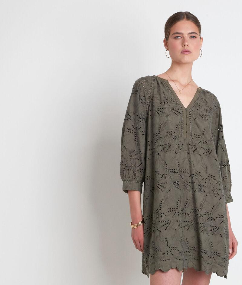 Robe en coton brodé kaki Coco PhotoZ | 1-2-3