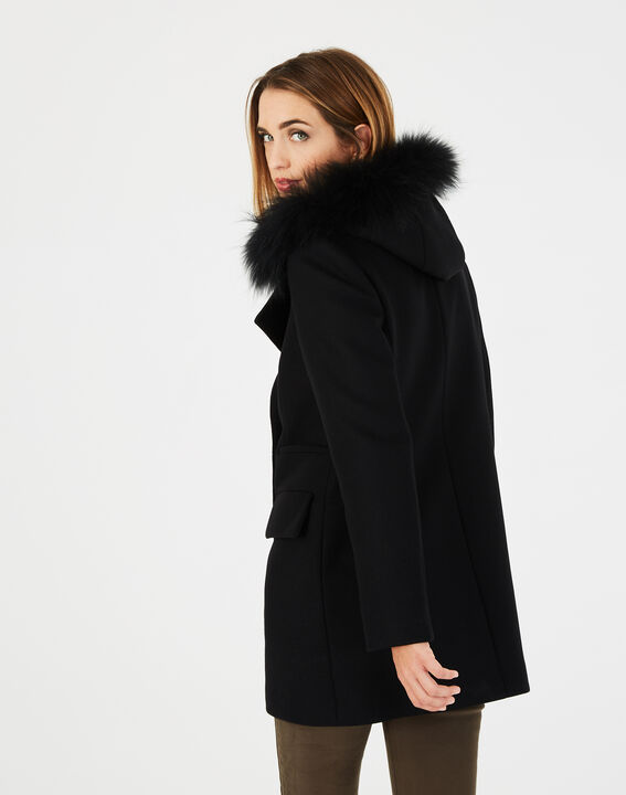 Manteau noir droit col fourrure Joe (4) - 1-2-3
