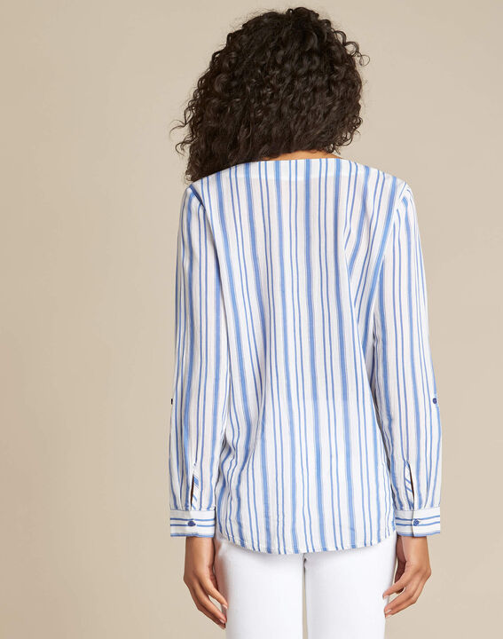 Dan blue and white striped shirt (4) - 1-2-3