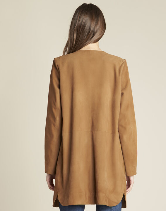 Tamara long suede camel coat with leather detailing (4) - 1-2-3