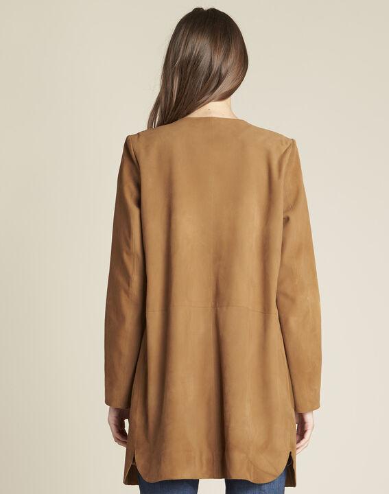 Manteau long camel cuir velours et détails cuir Tamara (4) - 1-2-3